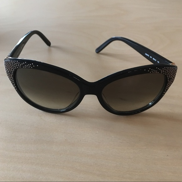 a1f2bae2e60 Chloe Accessories - Chloe Black + Gold Stud Cat Eye Sunglasses